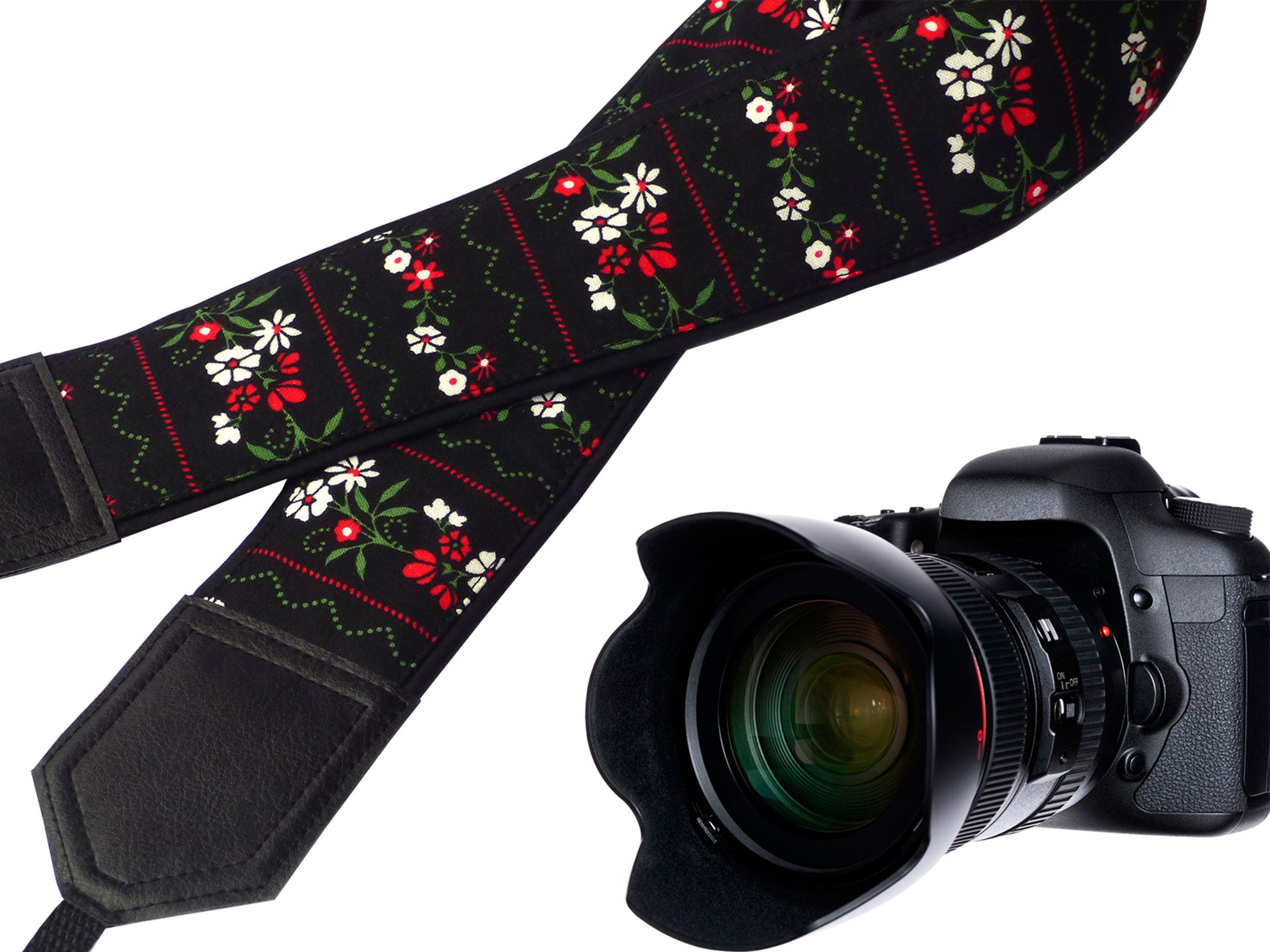 Flowers Camera strap.  Black Camera Strap DSLR / SLR. Camera accessories. Durable, light weight and well padded camera straps.