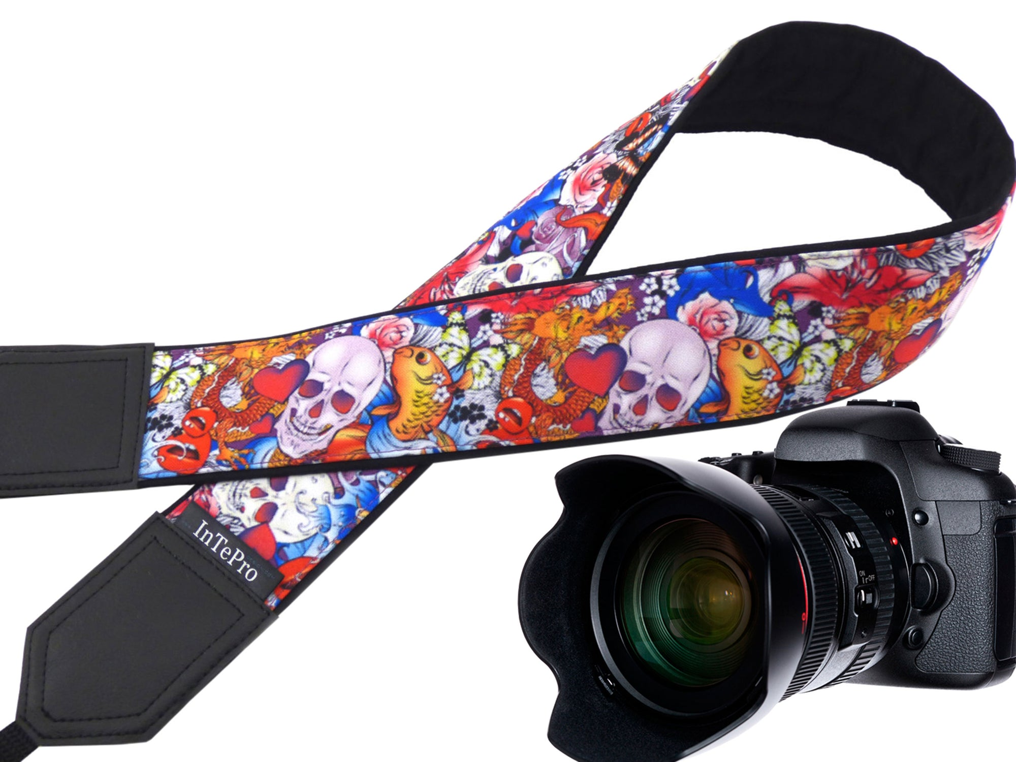 Halloween camera strap. Sugar skulls camera strap. Skulls and roses, and golden fish. DSLR / SLR / mirrorless Camera Strap.