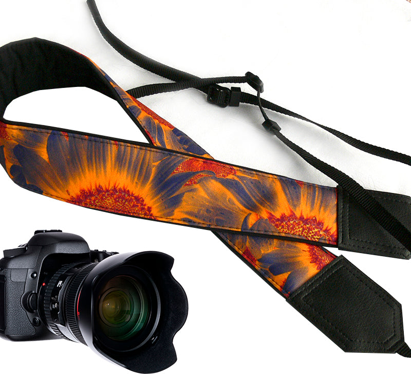 Sunflowers Camera strap.  Flowers camera strap.  Black and orange DSLR/SLR Camera Strap. Camera accessories.