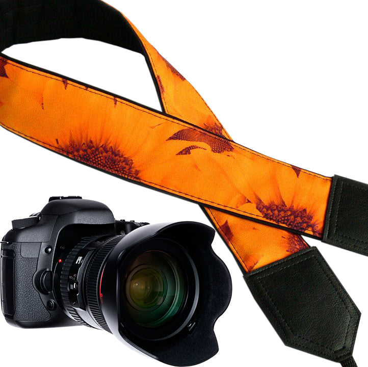 Sunflowers Camera strap.  Flowers camera strap.  DSLR / SLR Camera Strap. Camera accessories.