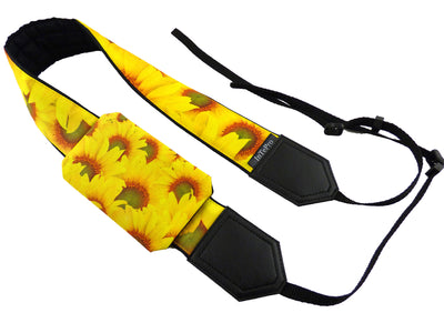 Sunflowers Camera Strap. Yellow flowers camera strap for DSLR / SLR Cameras. Photo Camera accessories by InTePro