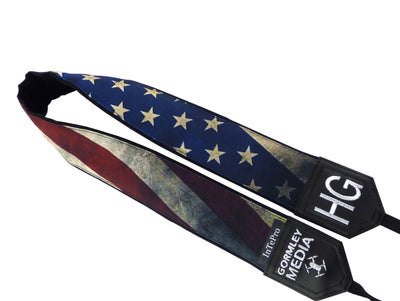 Personalized Vintage USA flag camera strap. Best gift. Independence day. Photo accessory.
