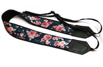 Roses Camera strap.  Flowers camera strap.  DSLR /SLR Camera Strap. Camera accessories. Black, Teal, Pink camera strap.