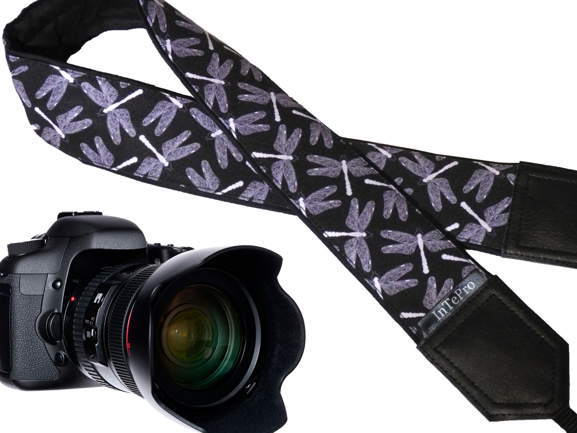 Personalized Camera straps. Dragonflies on black DSLR / SLR Camera Strap. Camera Accessories by InTePro