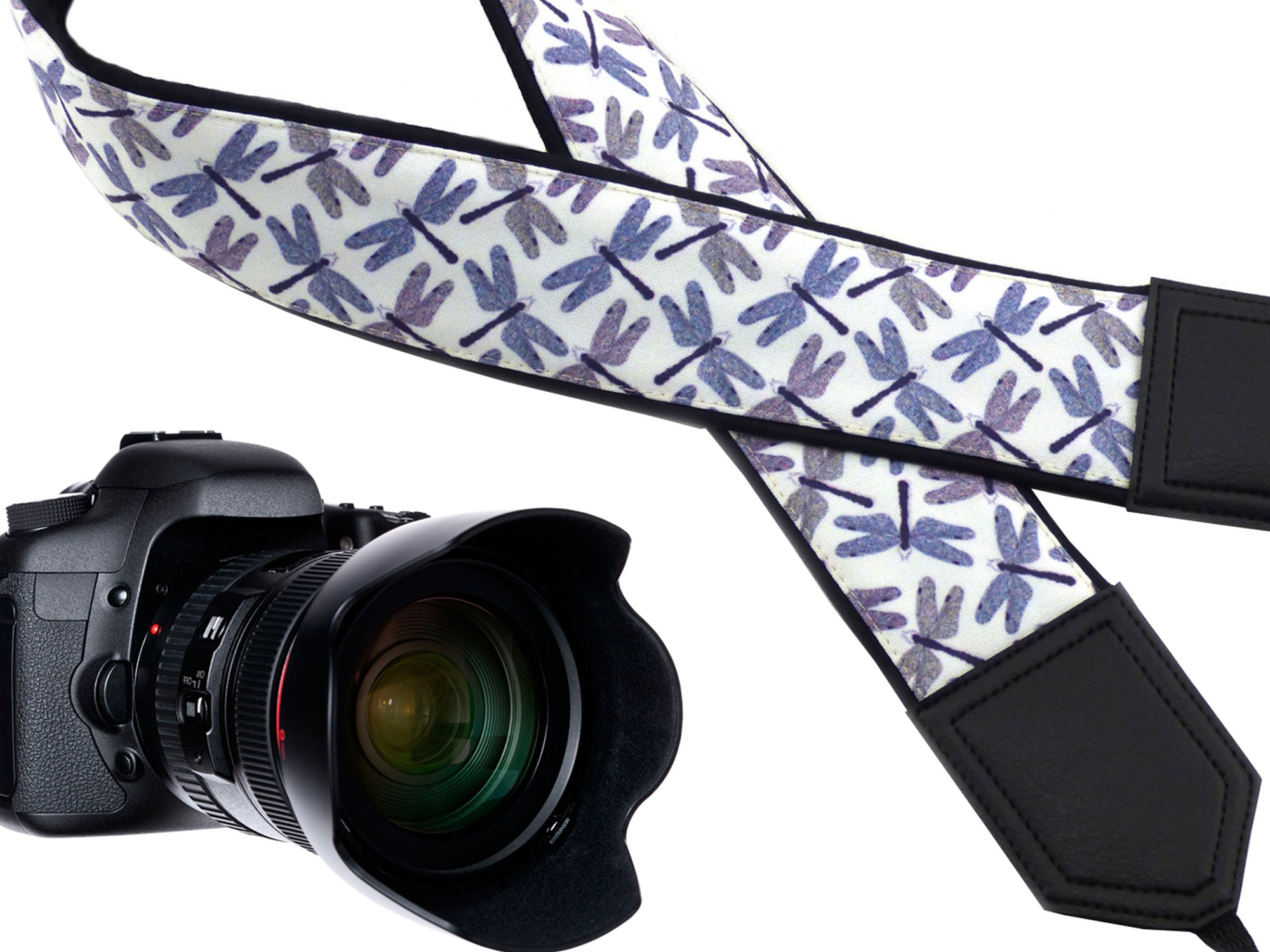 Personalized Camera straps. Dragonflies on white DSLR / SLR Camera Strap. Camera Accessories by InTePro