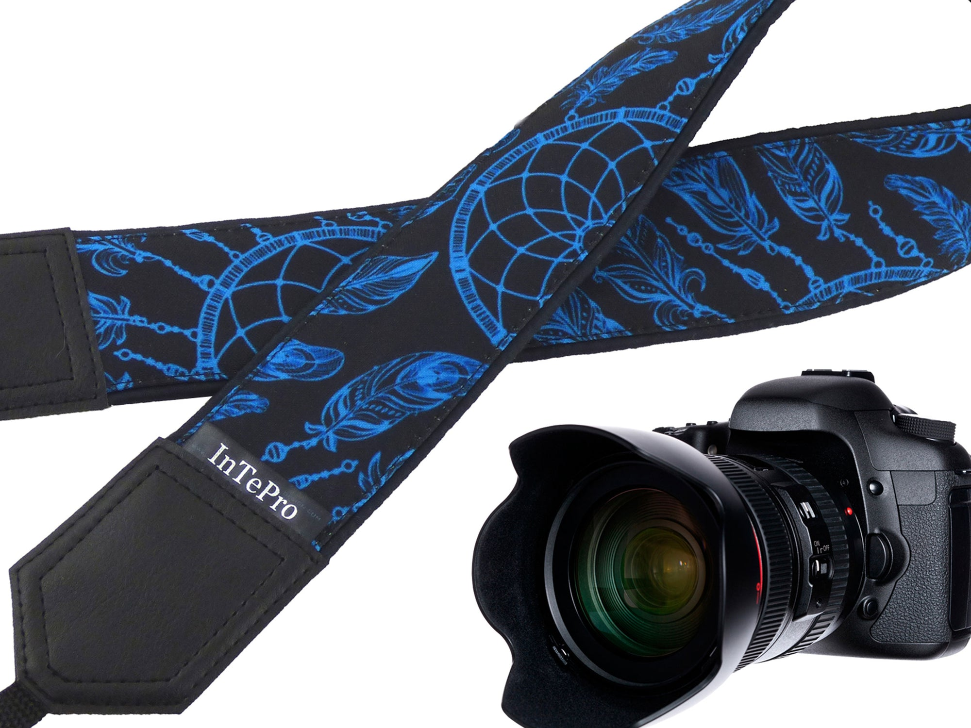 Dreamcatcher camera strap. Turquoise and black camera strap. DSLR / SLR accessories. Durable, light and padded camera strap by InTePro