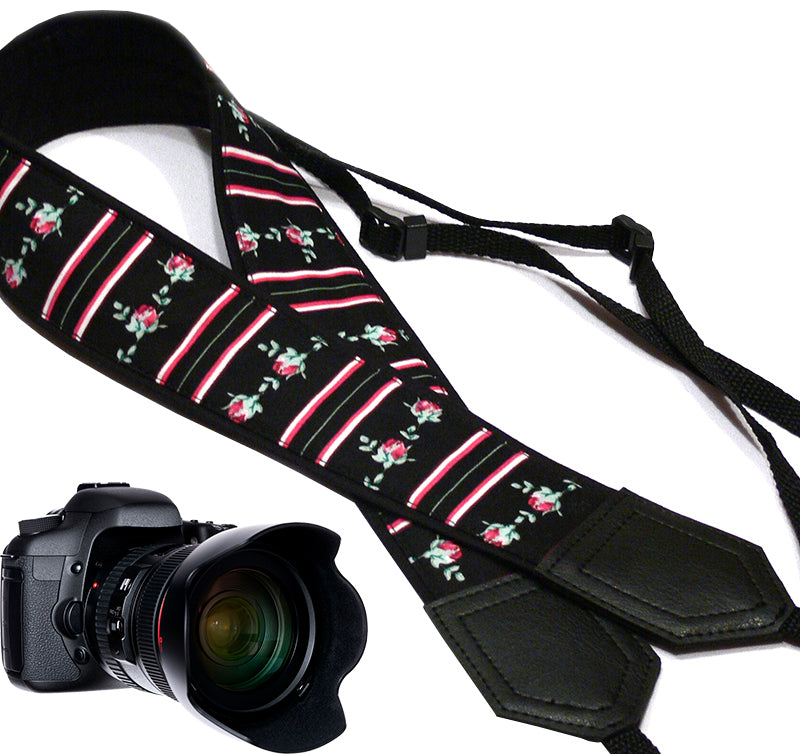 Flowers Camera strap.  Roses camera strap with stripes.  DSLR / SLR Camera Strap. Photo accessory.