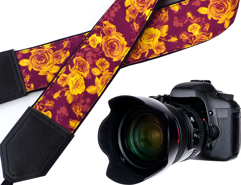 Damask Roses Camera strap.  Golden Flowers camera strap.  Burgundy DSLR / SLR Camera Strap. Camera accessories.