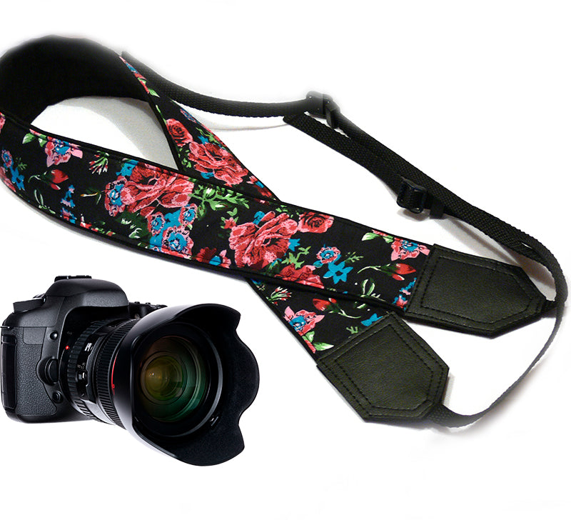 Flowers Camera strap.  Damask Roses camera strap.  DSLR/SLR Camera Strap. Camera accessories.