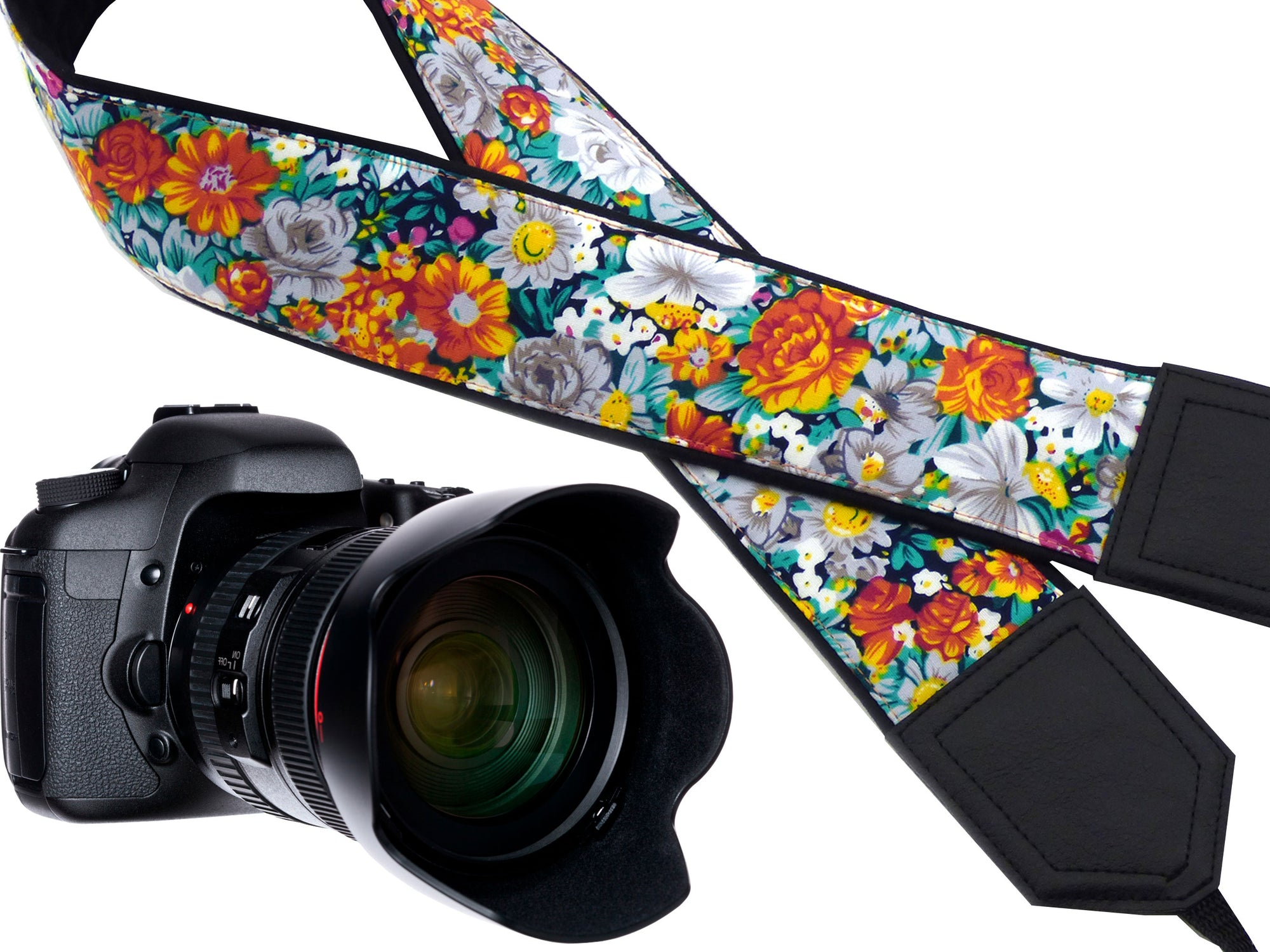 Flowers Camera strap. Personalized camera strap with flowers design. DSLR / SLR Camera Strap. Camera accessories by InTePro