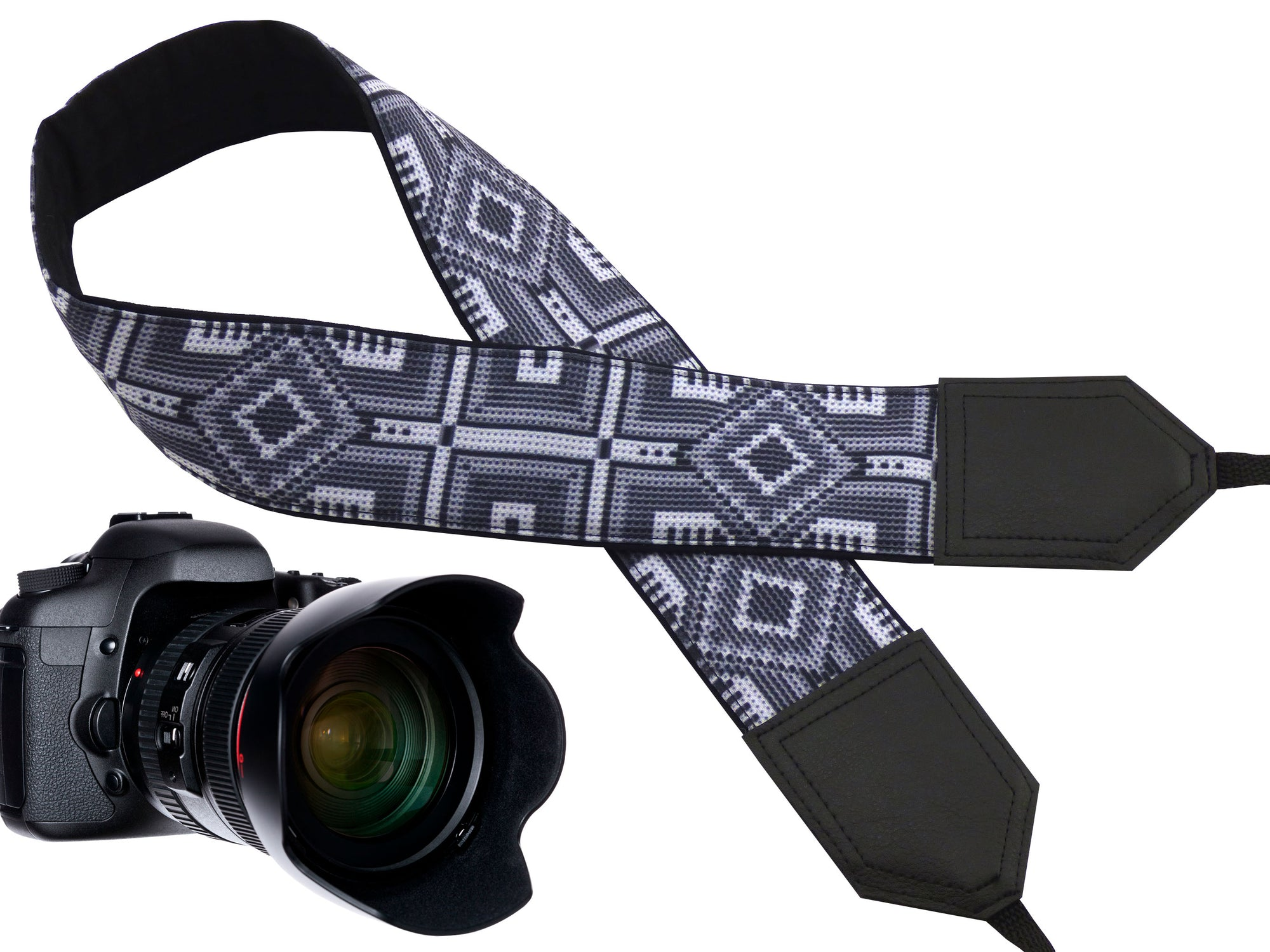 Personalized Camera strap. Photo accessories. DSLR / SLR camera strap. Grey Native pattern.