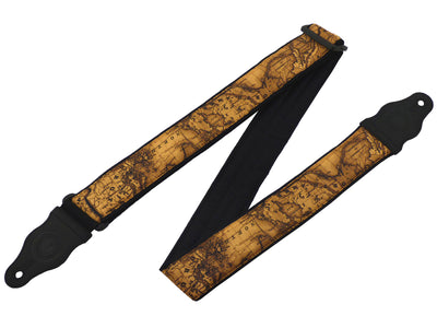 InTePro Guitar strap with Vintage world map design for acoustic, bass and other guitars.