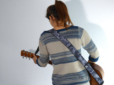 Guitar Strap with World  Map. Personalized Guitar Accessories for Guitar Lovers.
