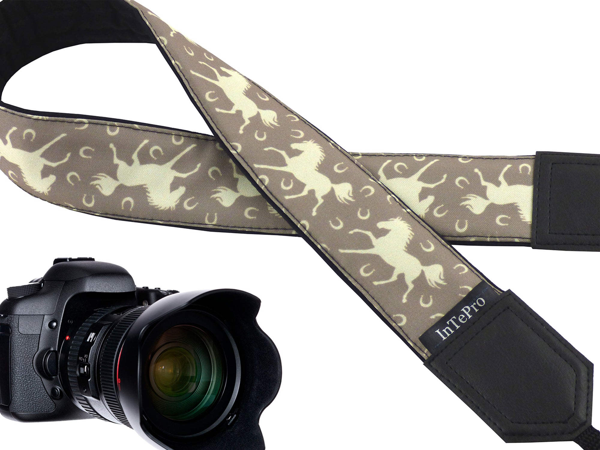 InTePro Personalized camera strap with Horses and horseshoes design. Best gift accessory for animal lovers. With pocket and extra length.