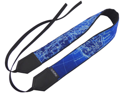 InTePro Camera Strap with Vintage Blue map design. Padded Camera Strap. Great gift for photographer and travelers.