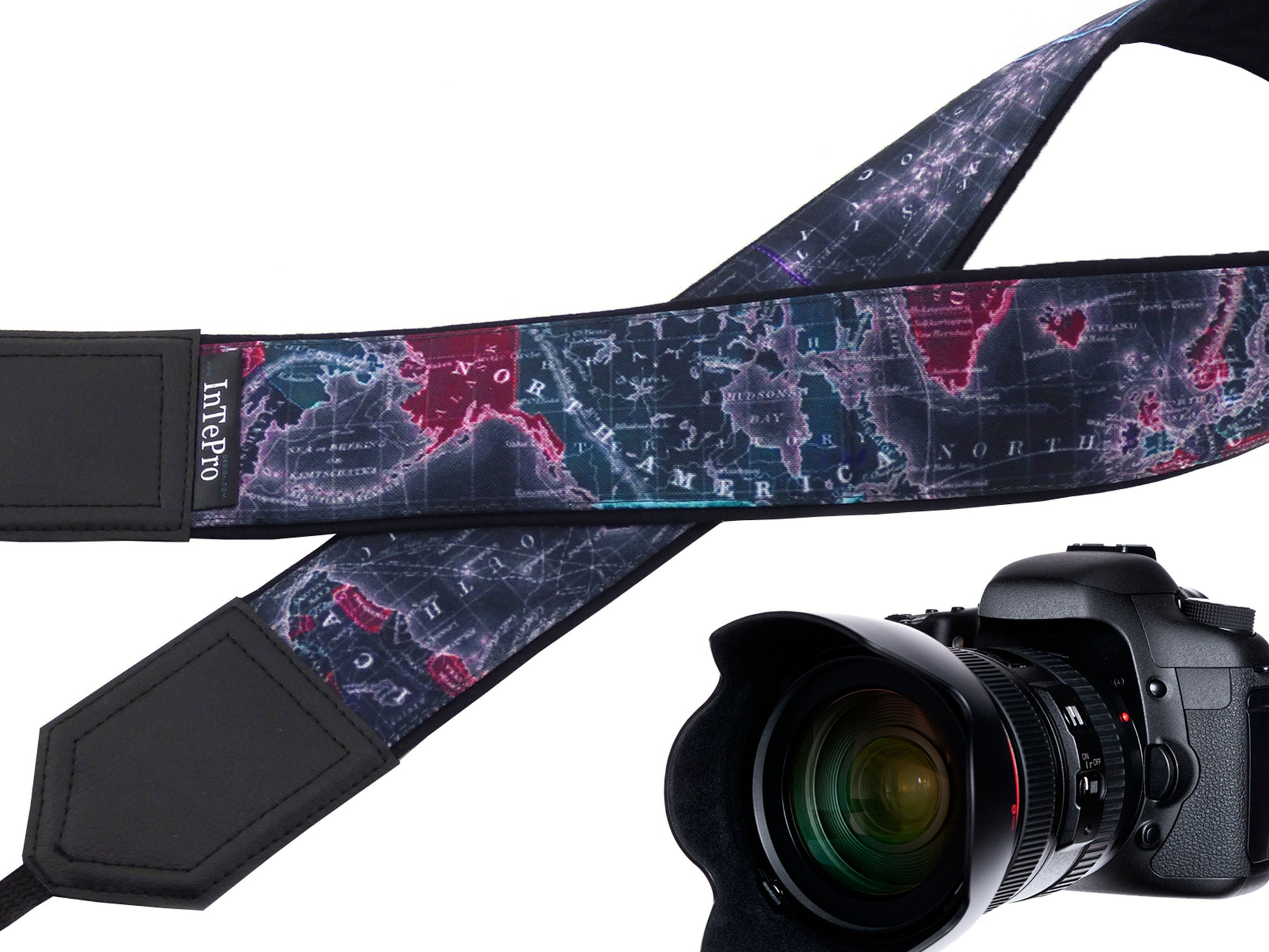 InTePro World map camera strap with personalization and pocket. Camera Strap with Embroidery for DSLR, Mirrorless and other cameras.