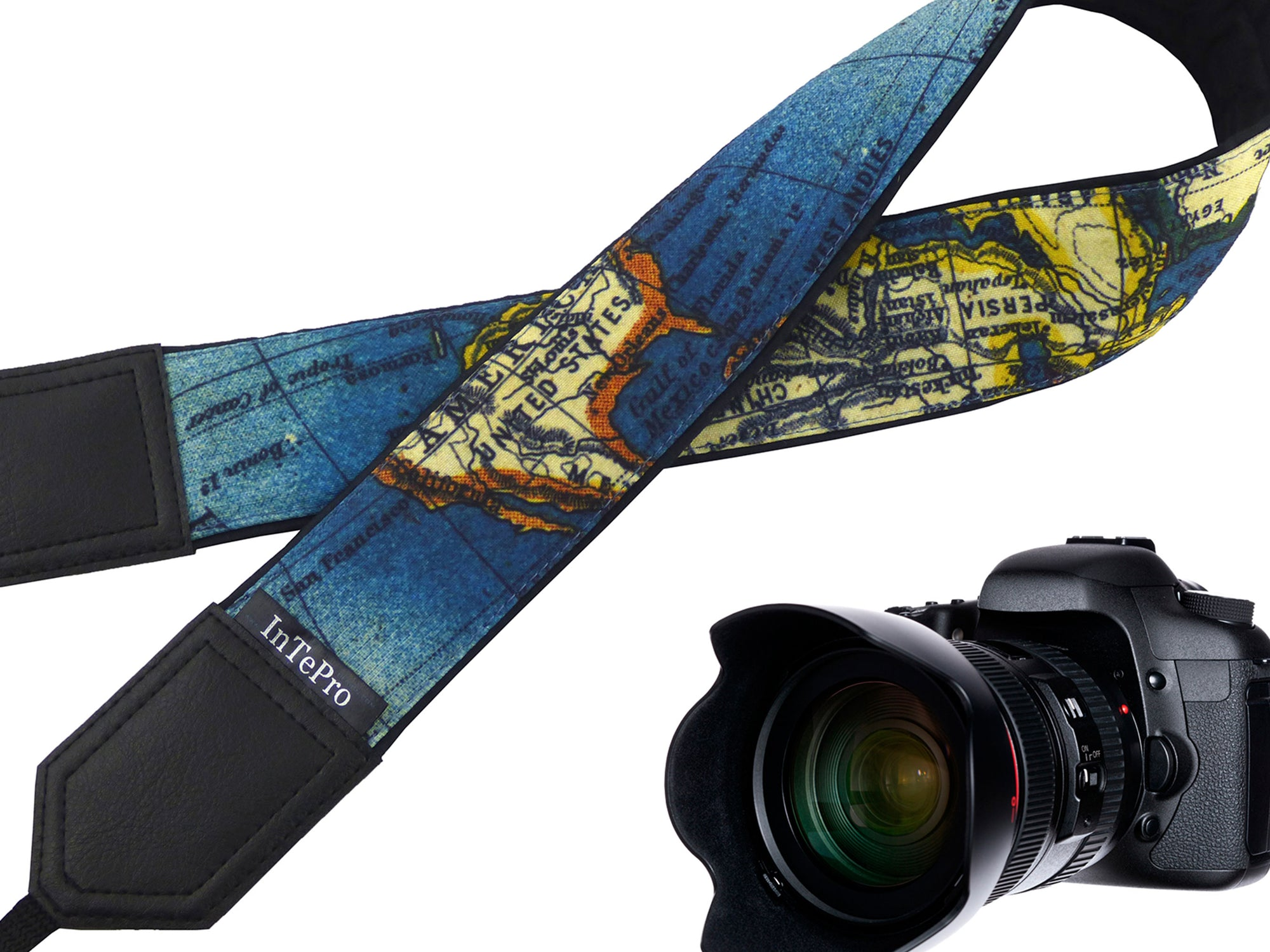 InTePro personalized camera strap for DSLR and mirrorless Cameras with Vintage map design. Camera accessory for photographers and travelers.