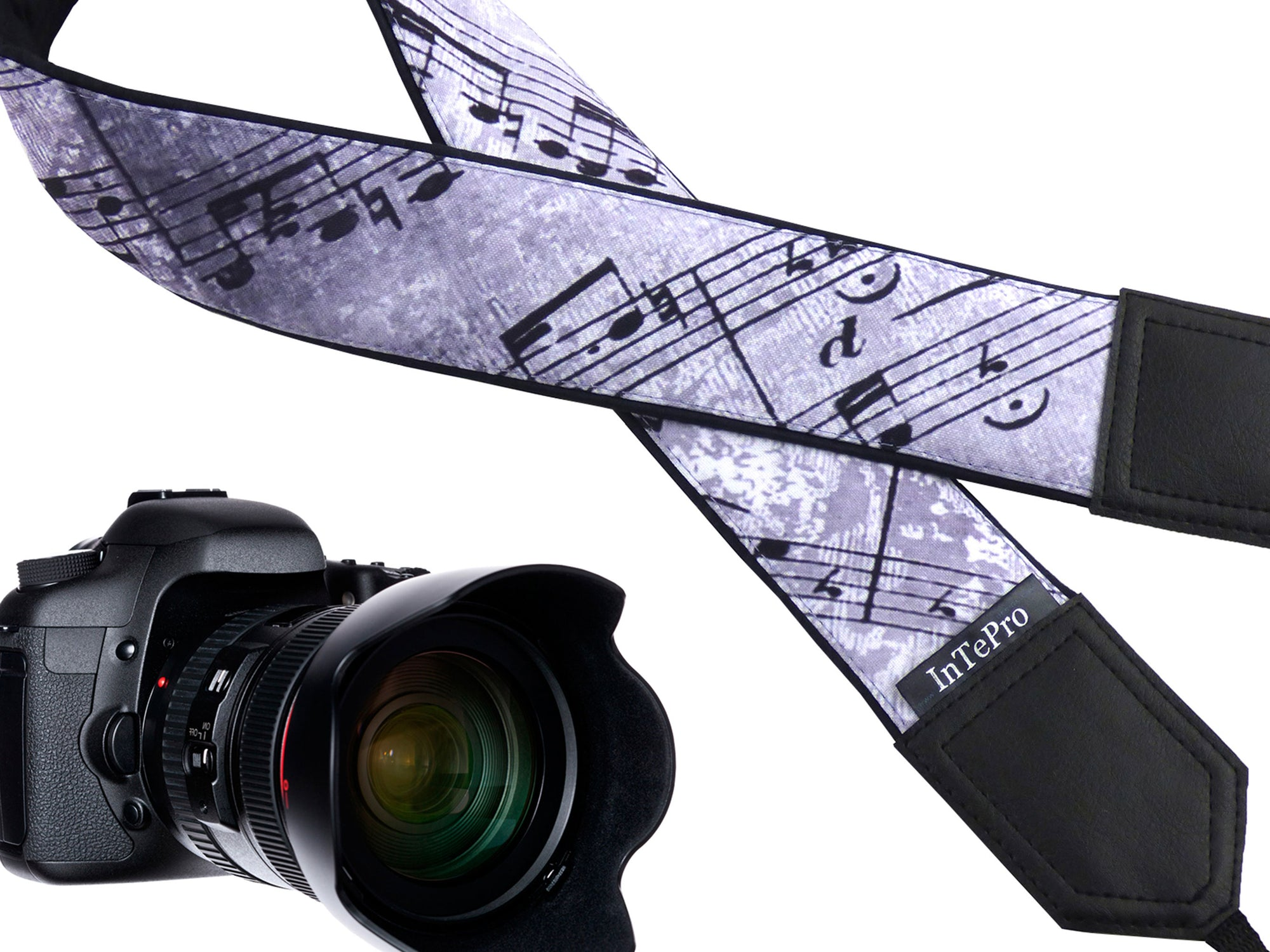 Personalized camera strap with music notes design. DSLR / SLR Camera Strap. Camera accessories by InTePro