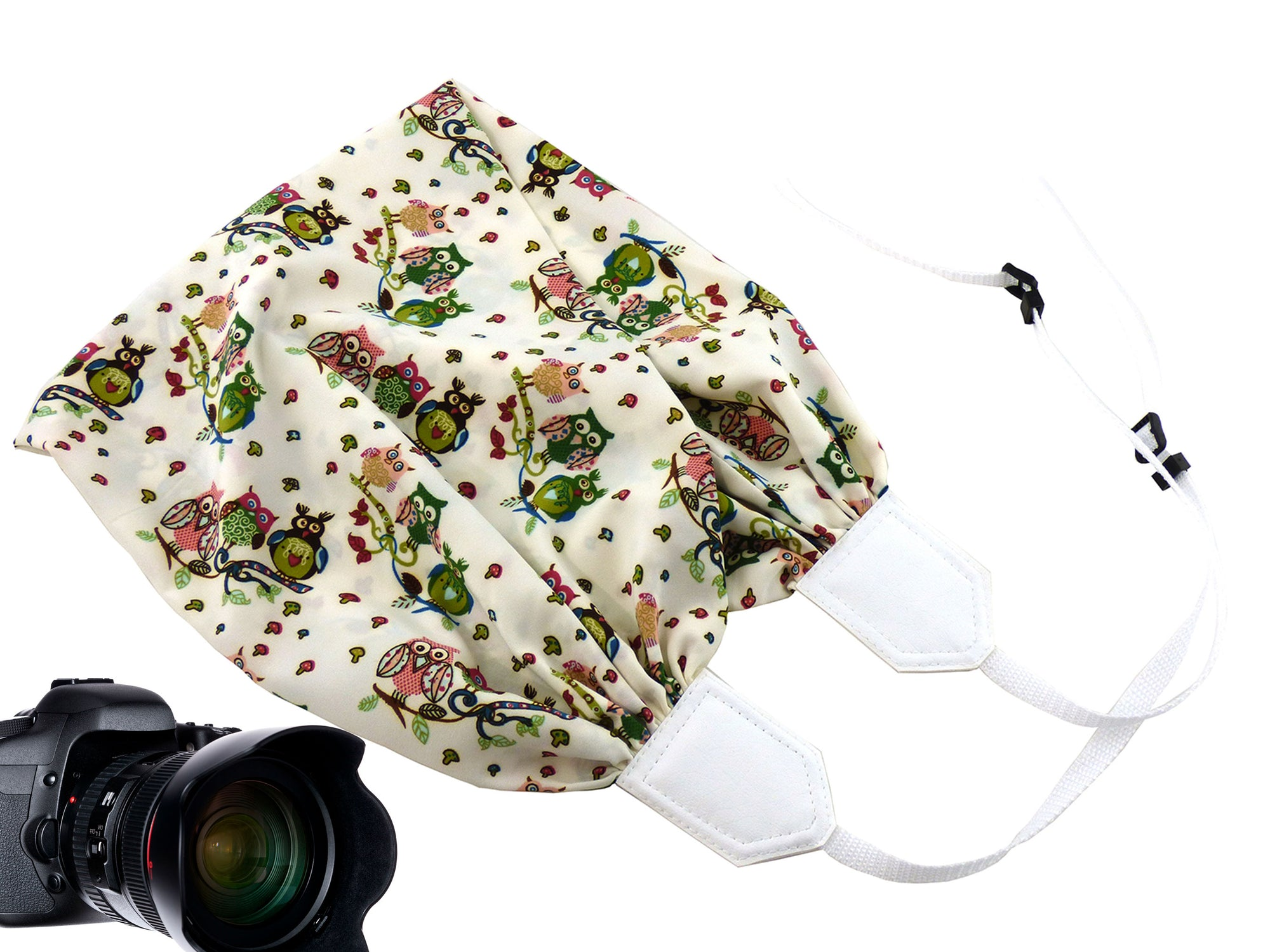 Scarf camera strap with owls. White DSLR Camera Strap with flowers and birds.