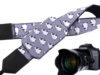 Soft and well-padded camera strap with personalization. Arctic birds - Penguin Grey Design camera strap. Gift for photographer and traveller.