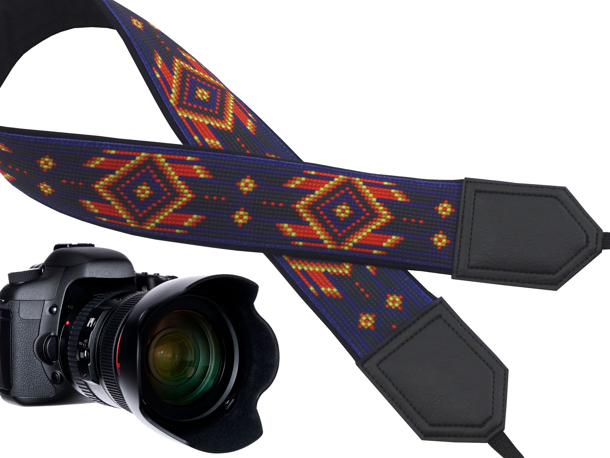 Personalized camera strap with native design. Purple camera strap for most DSLR and SLR cameras. Photo accessory by InTePro.