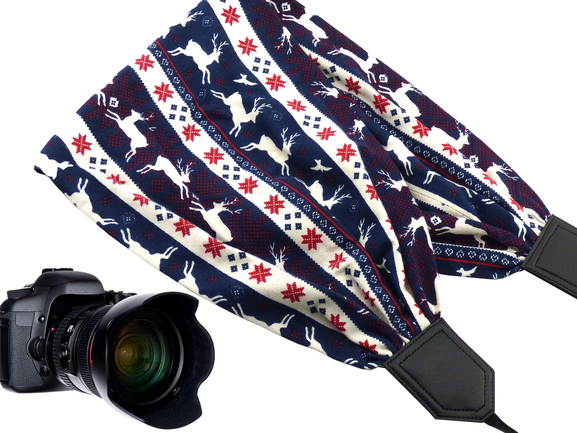 Deer scarf camera strap. Perfect Christmas gift idea!
