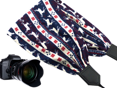 Deer scarf camera strap. Black DSLR, SLR Camera Strap. Soft camera strap with animals and Christmas symbols. Perfect Christmas gift idea!