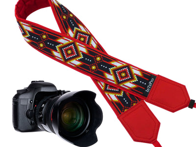 Personalized camera strap with red native design for DSLR and SLR cameras. Gift idea for photographer and traveler. American native motives.