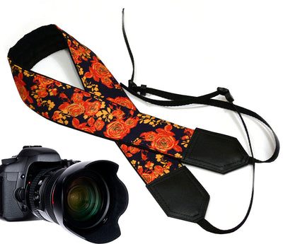 Roses Camera Strap. DSLR / SLR Camera Strap. Photo Camera accessories with flowers design..