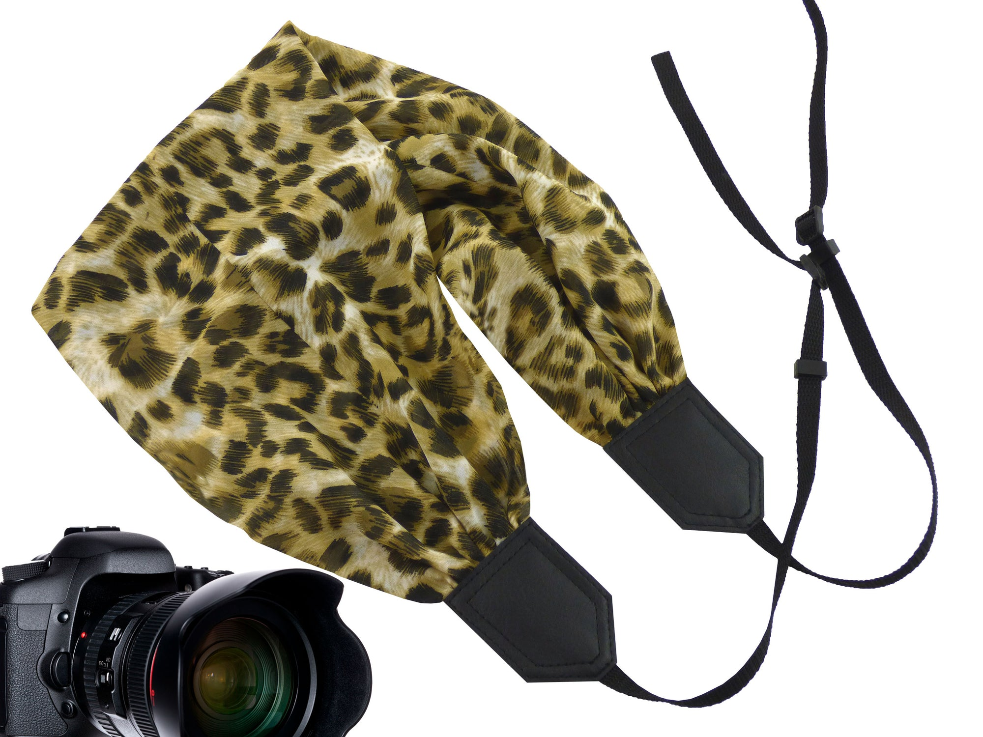 Scarf camera strap with Jaguar design. Best gift camera accessory for women.