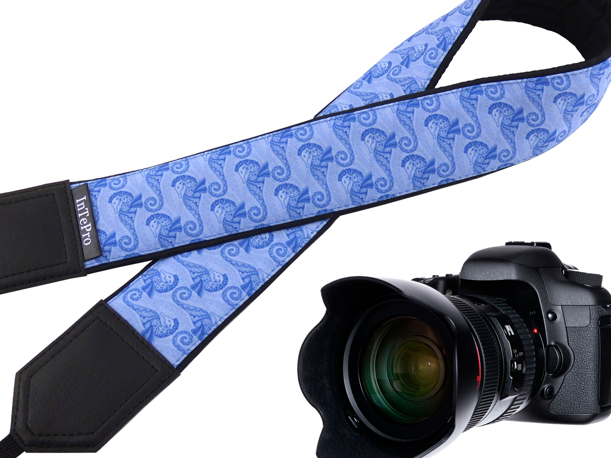 Personalized camera strap with Seahorses design for DSLR and SLR Cameras.