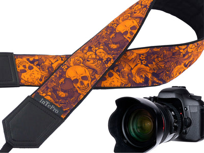 Orange Skulls camera strap with pocket and embroidery option. DSLR and SLR camera strap. Unique Halloween gifts