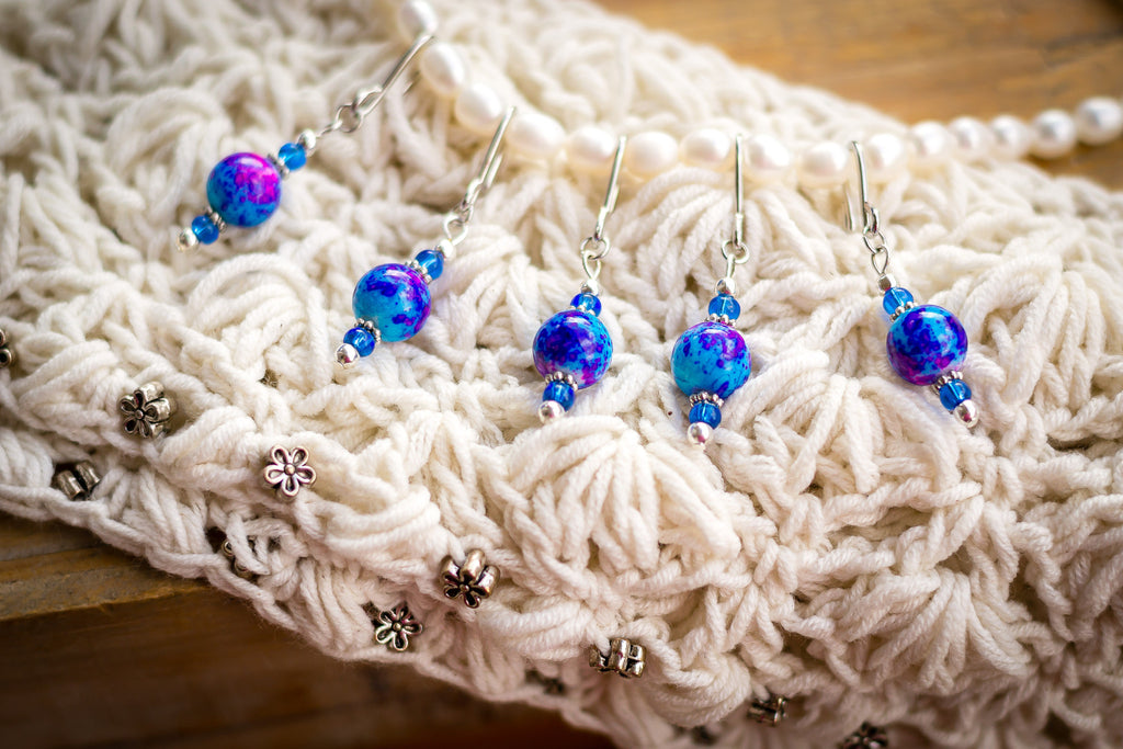 Cobalt Splash Stitch Markers