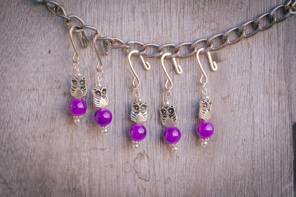 Violet Owls Stitch Markers
