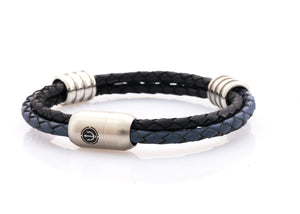 CAPTN Trident Stahl 8 Ring three cord leather bracelet man Schwarz-BLue