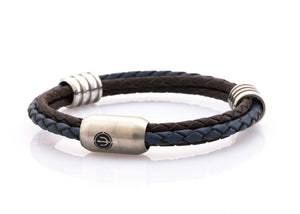 CAPTN Trident Stahl 8 Ring three cord leather bracelet man Braun-BLue Leder