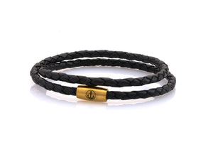 neptn women bracelet JUNO Anker Gold double 4 schwarz leather