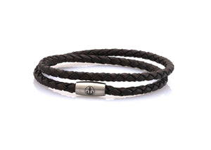 neptn women bracelet JUNO Anker Stahl double 4 anticbrown leather