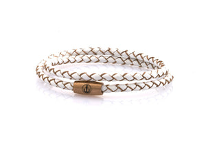 neptn women bracelet JUNO Anker Rosegold double 4 white leather