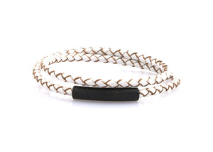 neptn women bracelet MINERVA F.o.L. Schwarz double 4 white leather