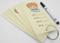 Feelings & Emotions Large Interactive Question Cards & Dry Wipe Pen - George - Visual Aid Resource (SEN)