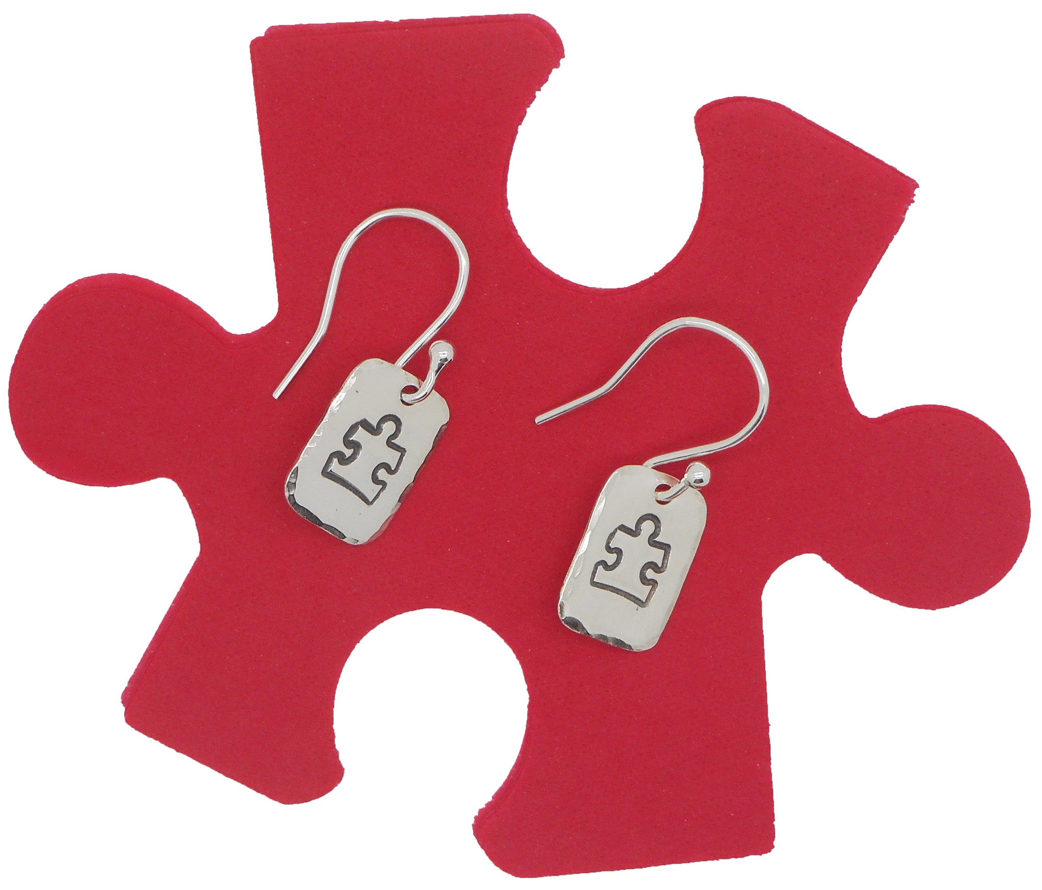 Sterling Silver Autism Awareness Jigsaw Piece Drop Earrings