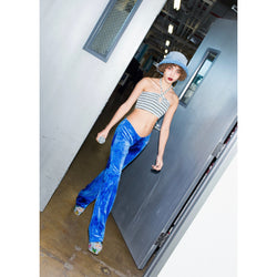 Blue Crush Velvet Bell Bottom Pants