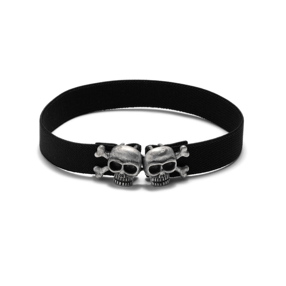 Skully Choker - Antique Silver