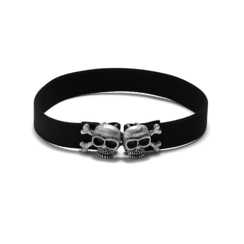 American Deadstock Skully Choker - Antique Silver