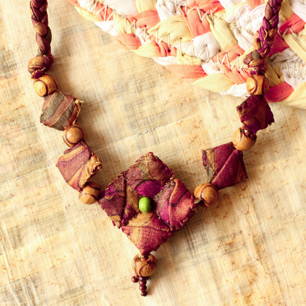 FABRIC NECKLACE TYPE 3 BROWN WITH  FABRIC BEAD PENDANT