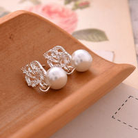 Pearl with Silver Flower Earrings