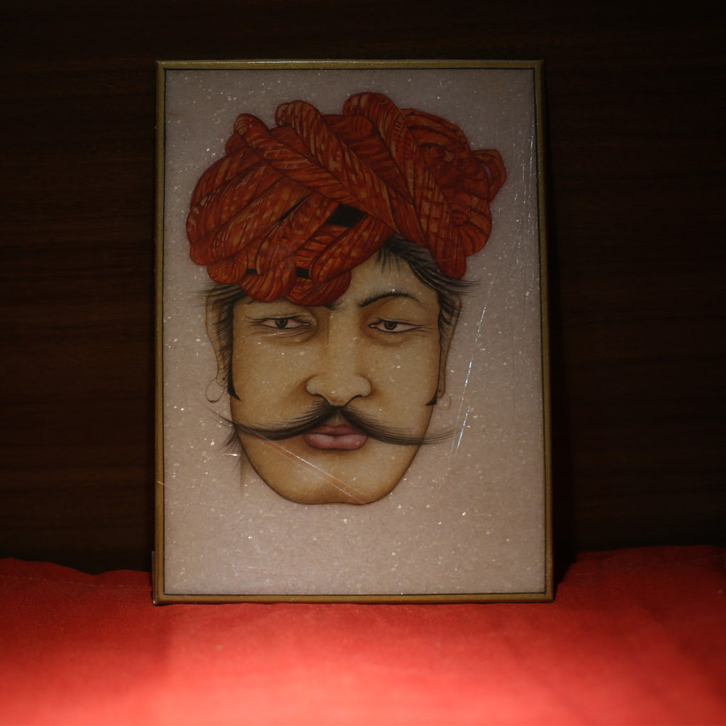Badmeri Turban on Moustached Man