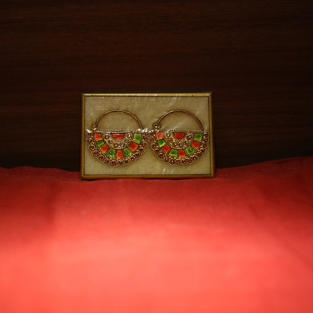 RAJASTHAN PAINTINGS Painted Marble Multi-Colored Earring on Marble