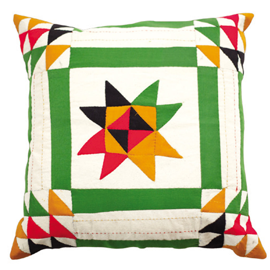 Dhaani Green Triad Cushion Cover (Set of 2)